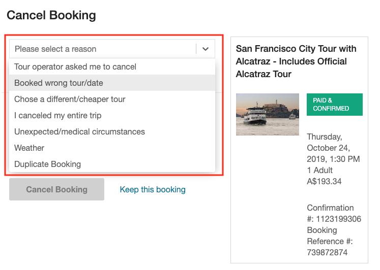 user bookings